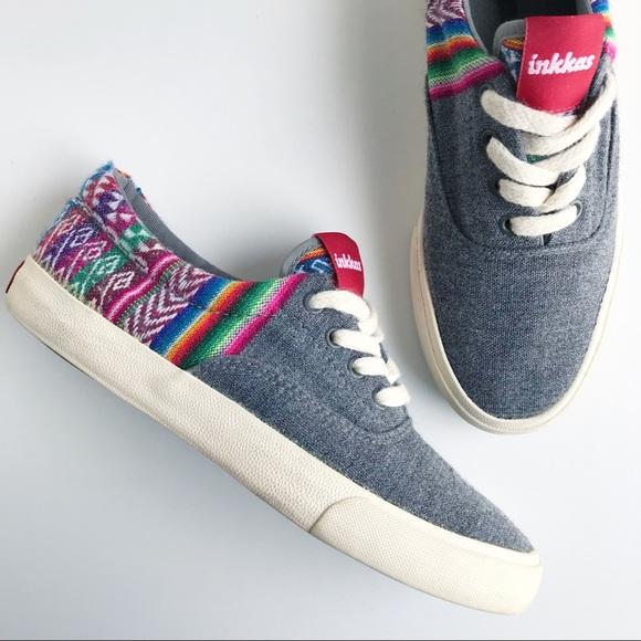Unisex Flat Shoes Vegan Inkkas Slate Slip On Sneakers